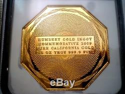 1852 Humbert Commemorative $50 Dollars Octagon Gem Pf 2.5 Oz. 999 Pure Gold Coin