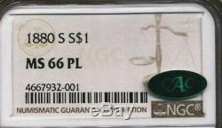 1880-S Morgan NGC MS-66-PL CAC Cameo Proof Like Silver Dollar San Francisco Mint