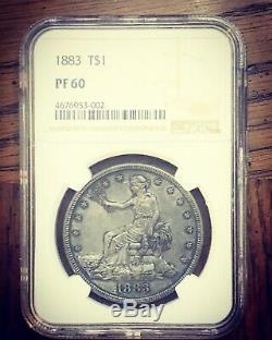 1883 Trade Dollar NGC PR60 Nice Toning Beautiful Bluish Gray Orginal Patina