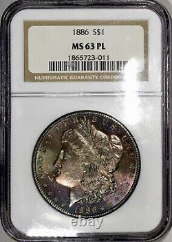 1886-P Morgan Dollar NGC MS63PL Proof Like Violet Rainbow Toned Old Holder OH
