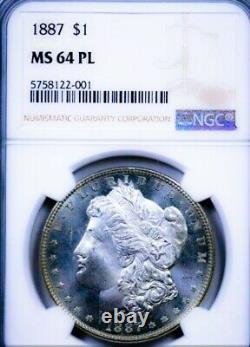 1887 Ms64 Proof Like Pl Morgan Dollar / Key Date. Beautiful Mirrors