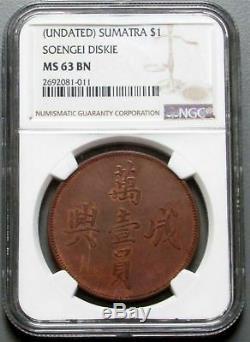 1890 1912 Sumatra Dollar Soengei Diskie Ngc Proof 63 Bn