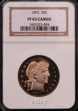 1892 Barber Half Dollar Ngc Pr65 Pf65 Cameo, Beauty