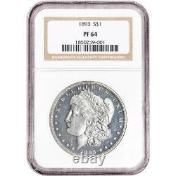 1893 US Morgan Silver Dollar Proof $1 NGC PF64
