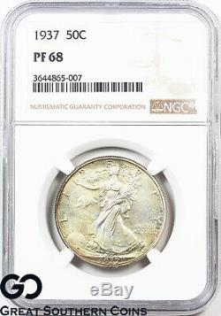 1937 Walking Liberty Half Dollar PROOF NGC PF 68 Wholesale $12,500, PG $17,600
