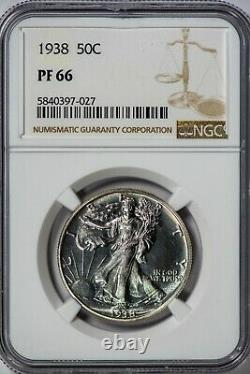 1938 50C Walking Liberty NGC PR66 Silver Half Dollar Proof, Premium Gem