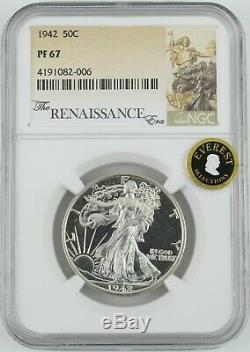 1942 proof U. S. Walking Liberty half dollar graded PF67 by NGC