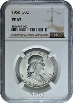 1950 50c Silver Proof Franklin Half Dollar NGC PF 67