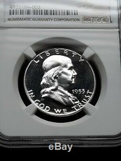 1953 Franklin Half Dollar Proof Graded By Ngc In Pf67 Cameo Full Cameo Flawless