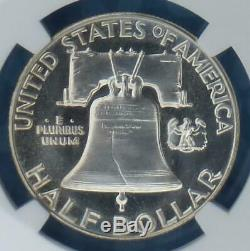 1955 NGC PF 67 Star Franklin Silver Half Dollar, Gem Proof 67 Star, Lt Obv Cameo