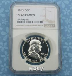 1955 NGC Proof 68 Cameo Franklin Silver Half Dollar, PF 68 Cam 50 Cent Coin