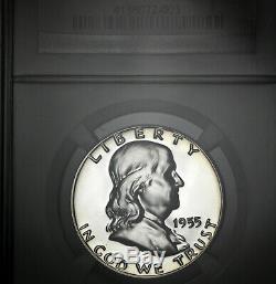 1955 PF69 Franklin Half Dollar 50c Proof, NGC Graded PR69. Cameo Reverse