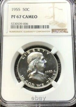 1955 Silver Proof Franklin Half Dollar NGC PF67 Cameo Rare Hi-Grade Proof