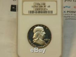1956 Franklin Half Dollar Ngc Pf68 Ultra Cameo Old Holder Beautiful