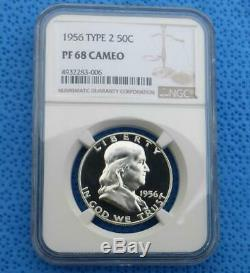 1956 NGC Proof 68 Cam Franklin Silver Half Dollar, PF 68 Cameo 50 Cent Coin