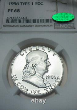 1956 Type 1 Proof Franklin PF 68 Silver Half Dollar CAC Verified NGC NICE