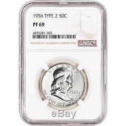 1956 US Franklin Silver Half Dollar Proof 50C Type 2 NGC PF69