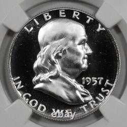 1957 Proof Franklin Half Dollar 50c Ngc & Cac Certified Pf 68 Star Cameo (001)