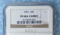 1962 NGC PF 68 Star Cam Franklin Silver Half Dollar, Gem Proof 68 Star & Cameo