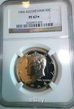 1964 Accent Hair Proof Kennedy Half Dollar NGC PF67 STAR Extremely Rare