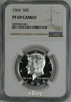 1964 Proof Kennedy Half Dollar 50c Ngc Certified Pr Pf 69 Cameo (001)