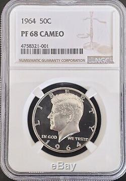 1964 Proof Kennedy half dollar PF68Cameo Near UltraCameo/DeepCameo PR68Deepcameo