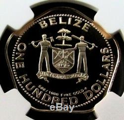 1981 Gold Belize $100 Dollar Ngc Proof 70 Uc Yellow Swallowtail Butterfly Coin
