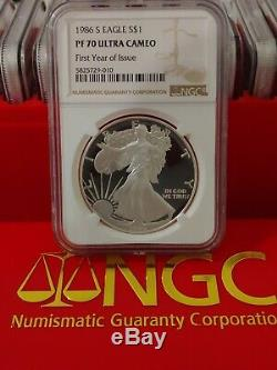 1986-S NGC PF70 UCAM Certified American Silver Eagle Dollar Proof ULTRA CAMEO