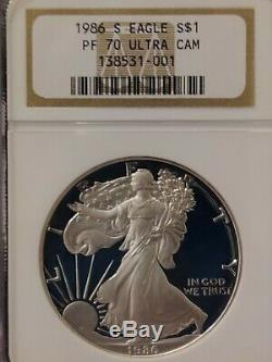 1986 S NGC PF70 UCAM Certified American Silver Eagle Dollar Proof ULTRA CAMEO