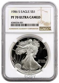 1986-S Proof American Silver Eagle One Dollar Coin NGC PF70 Ultra Cameo