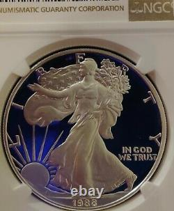 1988-S NGC PF70 UCAM Certified American Silver Eagle Dollar Proof ULTRA CAMEO