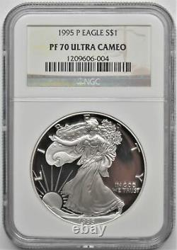 1995 P 1oz. 999 FINE SILVER AMERICAN EAGLE DOLLAR S$1 NGC PF 70 ULTRA CAMEO