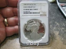 1995 W ANNIVERSARY SET American Eagle Proof Silver Dollar NGC PF 69 Ultra Cameo