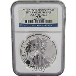 2011 P American Eagle Dollar PF 70 NGC 1 oz. 999 Silver $1 Coin Reverse Proof