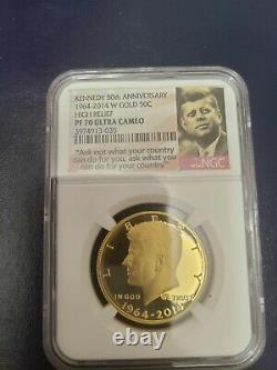 2014 W Kennedy half dollar 50th Anniversary Gold Proof Coin Ultra Cameo NGC PF70