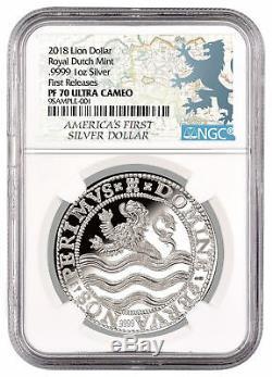 2018 Netherlands 1 oz. Silver Lion Dollar NGC PF70 UC FR