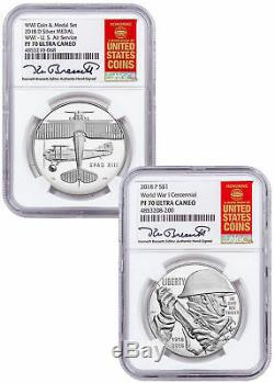 2018 WWI Centennial Silver Dollar W Air Service Medal NGC PF70 Bressett SKU58152