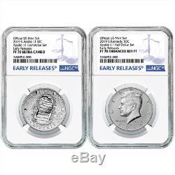 2019-S 50c Apollo 11 50th Ann. Half Dollar 2pc. Set NGC PF70 Blue ER Label