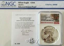 2019-S Silver Eagle Dollar Enhanced Reverse Proof NGC PF70 ER COA #18069