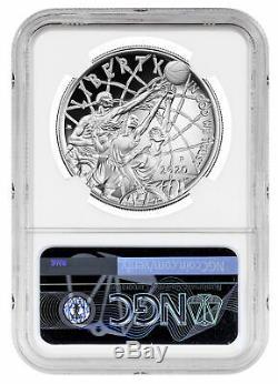 2020P $1 Basketball Hall Fame Silver Dollar Colorized NGC PF70UC Tip Off PRESALE