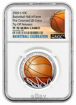 2020S Basketball Hall Fame Half Dollar Clad Colorized NGC PF70UC Tip Off PRESALE