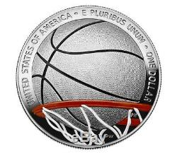 2020 P Basketball Hof Colorized Proof Silver Dollar, Ngc Pf70uc, First Release