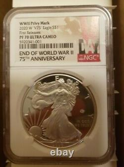 2020 W End of World War II 75th American Silver Eagle V75 NGC PF70 In Hand