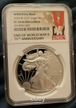 2020 W End of World War II 75th American Silver Eagle V75 NGC PF70 ultra cameo