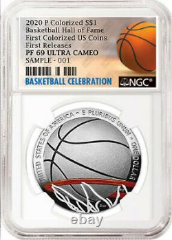 2020-p Basketball Hof Colorized Proof Silver Dollar, Ngc Pf69 Uc, First Release