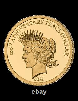 2021 Barbados 1921 Peace Dollar 100th Ann. 0.5 gram Gold Proof Coin NGC PF 70