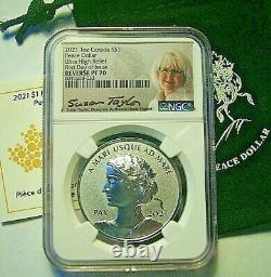 2021 Canada S$1 Peace Silver Dollar Uhr Reverse Proof Ngc Rev Pf70 Fdi -taylor