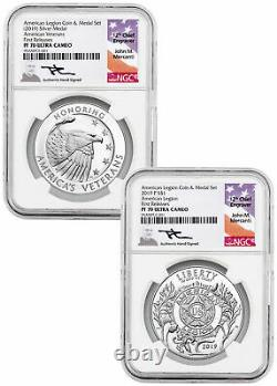 2PC American Legion Silver Dollar&Medal NGC PF70 UC FR Mercanti Label SKU58214