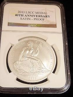 Gobrecht Silver Dollar Restrike 2013 Seated Liberty Club 40th Ann Ngc Satin