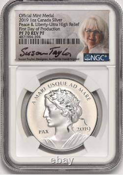 Set 2019-2020-2021 Canada Peace Dollar-ngc Pf70 Reverse Proof-ultra High Relief
